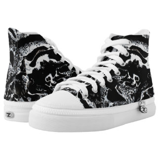 """Black & White Abstract High Tops - """"Mini Cray"""""""