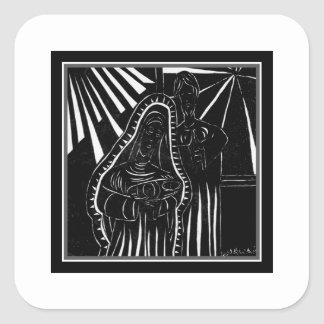Black White Abstract Nativity Religious Christmas Square Sticker