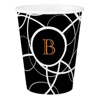 Black & White abstract orange monogram | Paper Cup