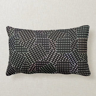 Black White Abstract Patchwork Checks Pattern, Lumbar Pillow