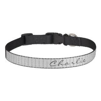 Black & White Abstract Retro Print Personalized Pet Collar