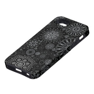 Black & White Abstract Snowflake Variety Pattern iPhone 5 Covers