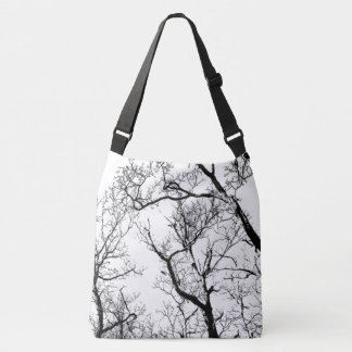 black white abstract tree  tote bag