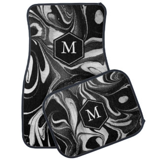 Black & White Abstract Wavy Marble Swirls Car Liners