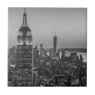 Black & White Aerial View of New York City Night Ceramic Tile