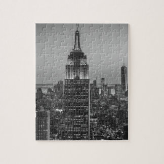 Black & White Aerial View of New York City Night Puzzles