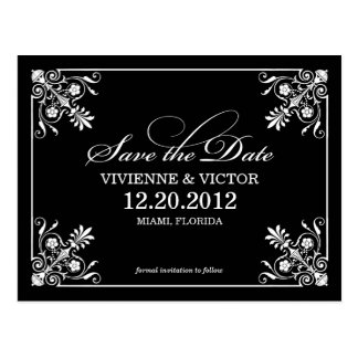 BLACK & WHITE AFFAIR | SAVE THE DATE ANNOUNCEMENT POSTCARD