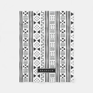Black|White African MudCloth Inspired Personalized Fleece Blanket