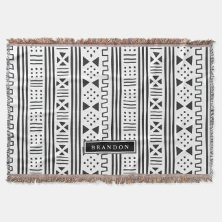 Black | White African MudCloth Inspired Throw Blanket