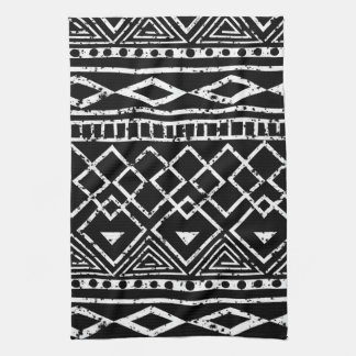 Black White African Tribal Pattern Kitchen Towel