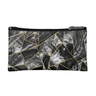 Black White Agate Black Gold Geometric Triangles Cosmetic Bag