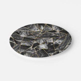 Black White Agate Black Gold Geometric Triangles Paper Plate