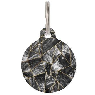 Black White Agate Black Gold Geometric Triangles Pet Tags