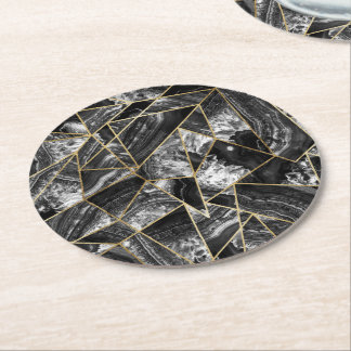 Black White Agate Black Gold Geometric Triangles Round Paper Coaster