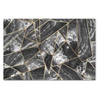 Black White Agate Black Gold Geometric Triangles Tissue Paper