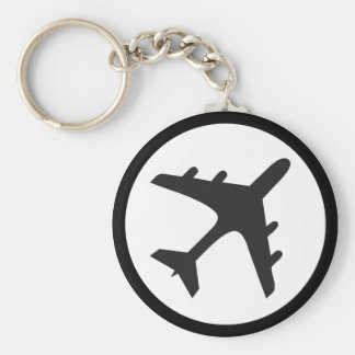 Black white airplane symbol simple keychain