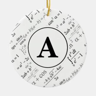 Black White Algebra Math Monogram Initial Ceramic Ornament