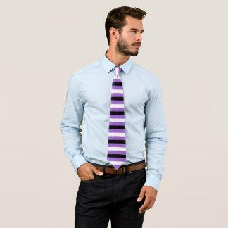Black White Amethyst Modern Stripes Pattern Tie