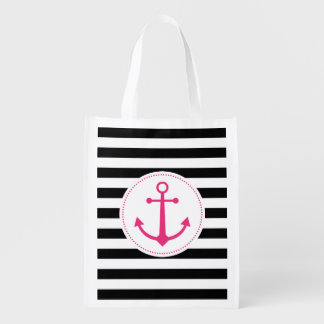 black & white anchor reusable grocery bag