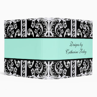 Black, White, and Aquamarine Damask Binder
