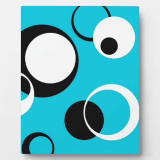 Black white and Blue Circles Plaque