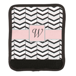 Black White and Blush Chevron Luggage Handle Wrap