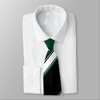 Black White and Evergreen University Stripe Tie