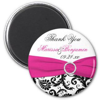 Black, White, and Fuchsia Wedding Favor Magnet