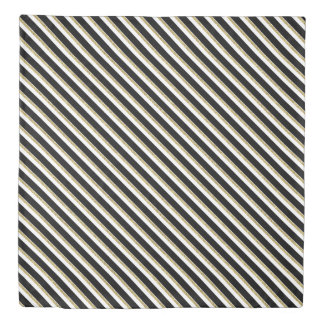 Black, White and Gold Diagonal Stripes Duvet Cover