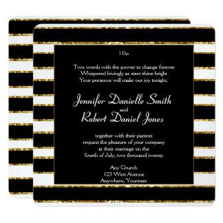 Black White and Gold Glitter Wedding Card
