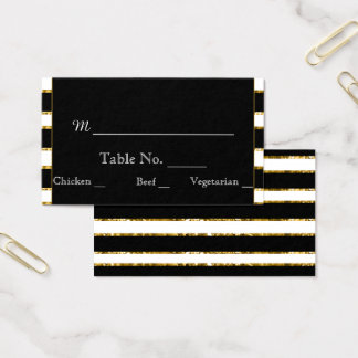 Black White and Gold Glitter Wedding Place Cards
