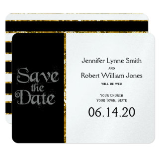 Black White and Gold Glitter Wedding Save the Date Card