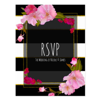 Black White and Gold Modern Floral Chic Glam RSVP Postcard