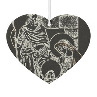 BLACK WHITE AND GOLD NATIVITY CAR AIR FRESHENER