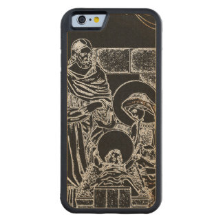 BLACK WHITE AND GOLD NATIVITY CARVED MAPLE iPhone 6 BUMPER CASE