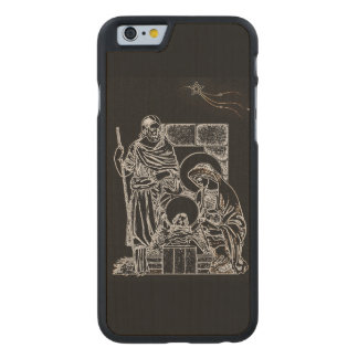 BLACK WHITE AND GOLD NATIVITY CARVED MAPLE iPhone 6 CASE