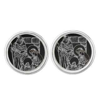 BLACK WHITE AND GOLD NATIVITY CUFF LINKS