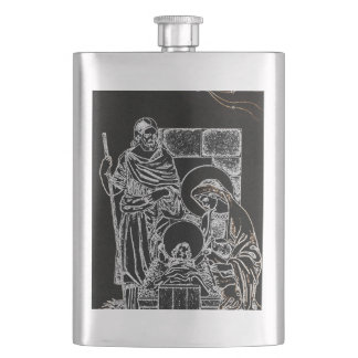 BLACK WHITE AND GOLD NATIVITY FLASK