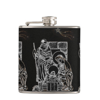 BLACK WHITE AND GOLD NATIVITY HIP FLASK