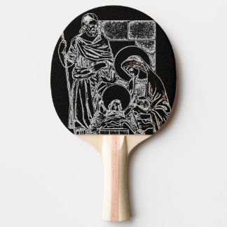 BLACK WHITE AND GOLD NATIVITY PING PONG PADDLE