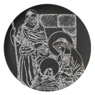 BLACK WHITE AND GOLD NATIVITY PLATE