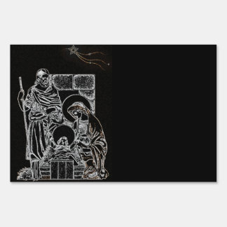BLACK WHITE AND GOLD NATIVITY SIGN