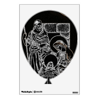 BLACK WHITE AND GOLD NATIVITY WALL DECAL