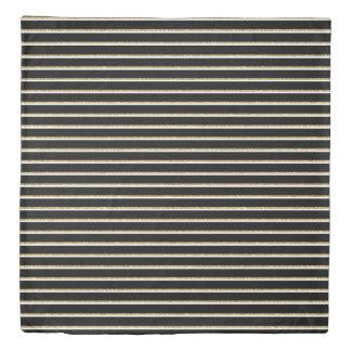 Black, White and Gold Stripes Duvet Cover