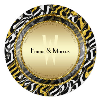 Black White and Gold Wedding Round Menu Card