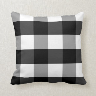 Black, White and Gray Checked Gingham Accent Throw Pillow
