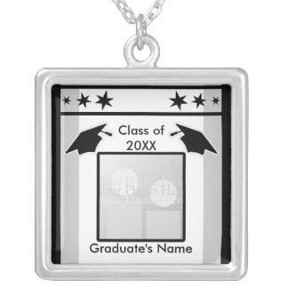 Black, White and Gray Graduation (photo frame) Silver Plated Necklace