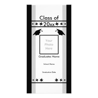 Black White and Gray Graduation Photo Card Template