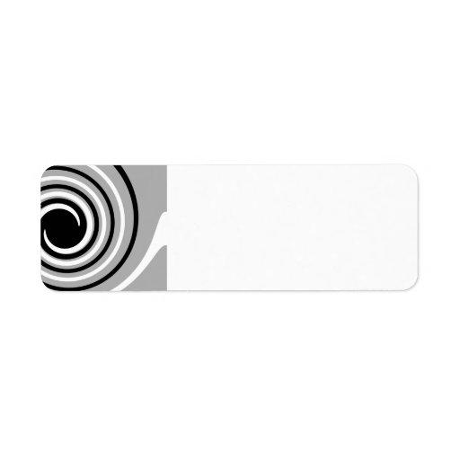 Black, White and Gray Twist Design. Return Address Labels