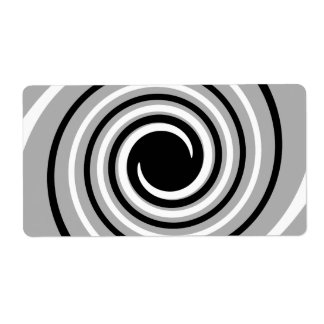 Black, White and Gray Twist Design. Shipping Label